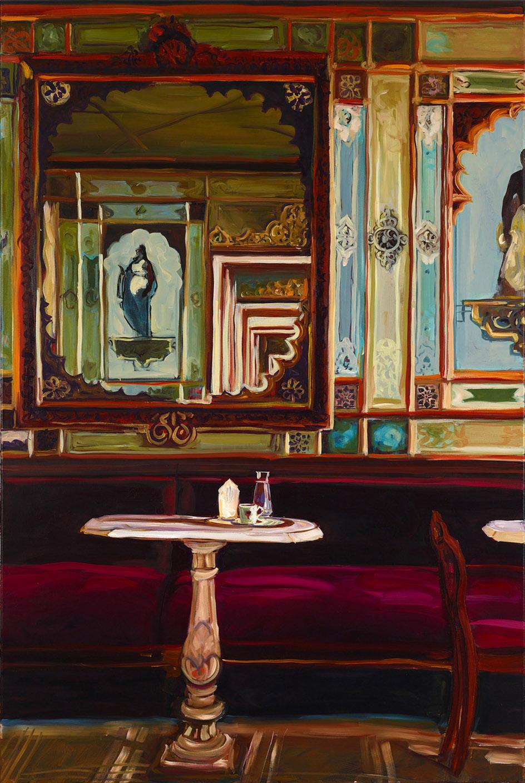"""Caroline Weihrauch, """"Mein liebes Venedig Caffe Florian"""", 2020, Öl auf Leinwand, 150 x 100 cm"""
