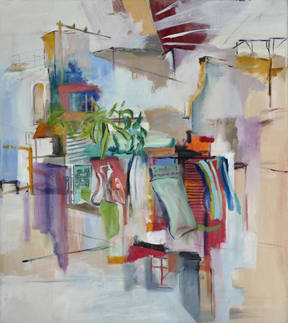 "Susanne Heitmann, ""über Dächern"", 2021, Öl auf Leinwand, 90 x 80 cm"