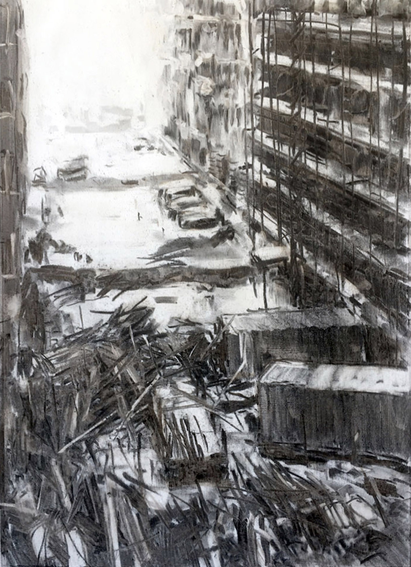 """Ommo Wille, """"Mainzer Straße 1990"""", 2021, Kohlezeichnung, 29 x 41 cm"""