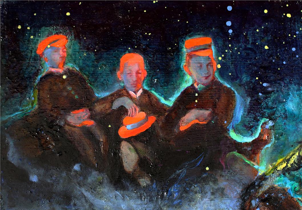 "Steffi Weigel, ""Himmelfahrt"", 2012, Acryl/Öl auf historischem Kirchenbankholz, 18 x 25,5 cm"