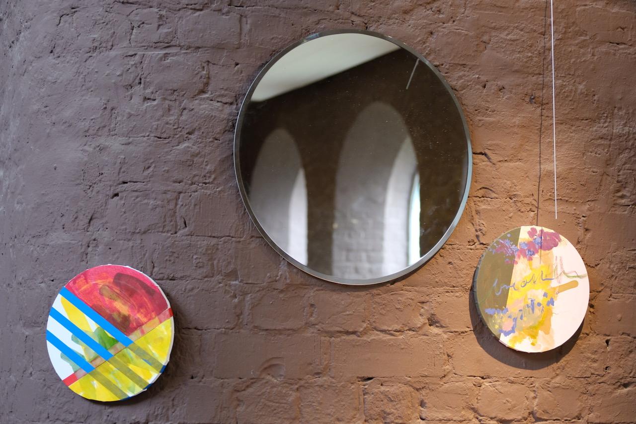 "Michaela Seliger, ""Light Cut Rondo"", 2021, Rauminstallation, Detail, Spiegel, Leinwand, Format je nach Installation© Foto: Dr. Peter Fleischmann"