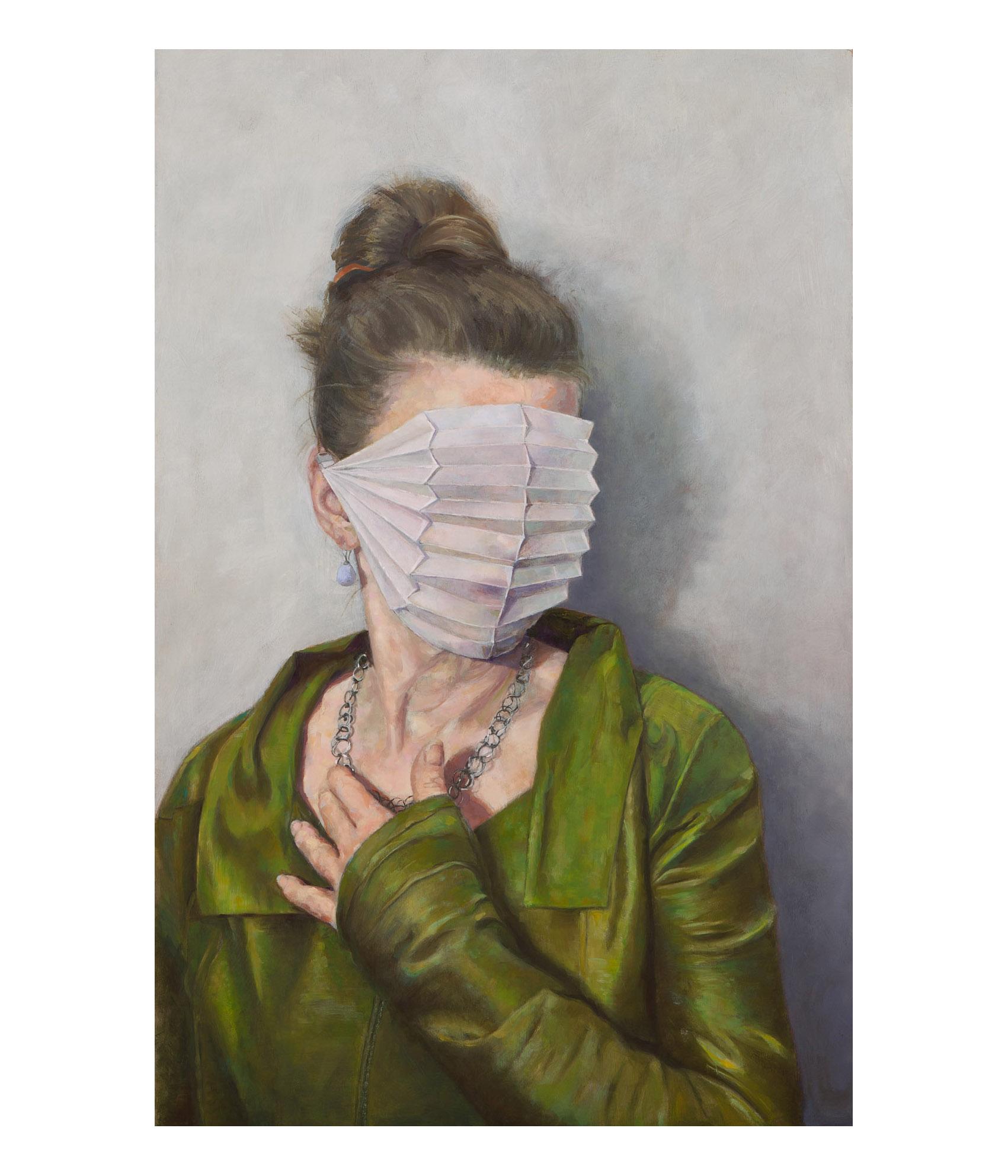 """Franziska von Woyski """"Selbstportrait"""", 2020, Öl auf Holz, 115 x 75 cm"""
