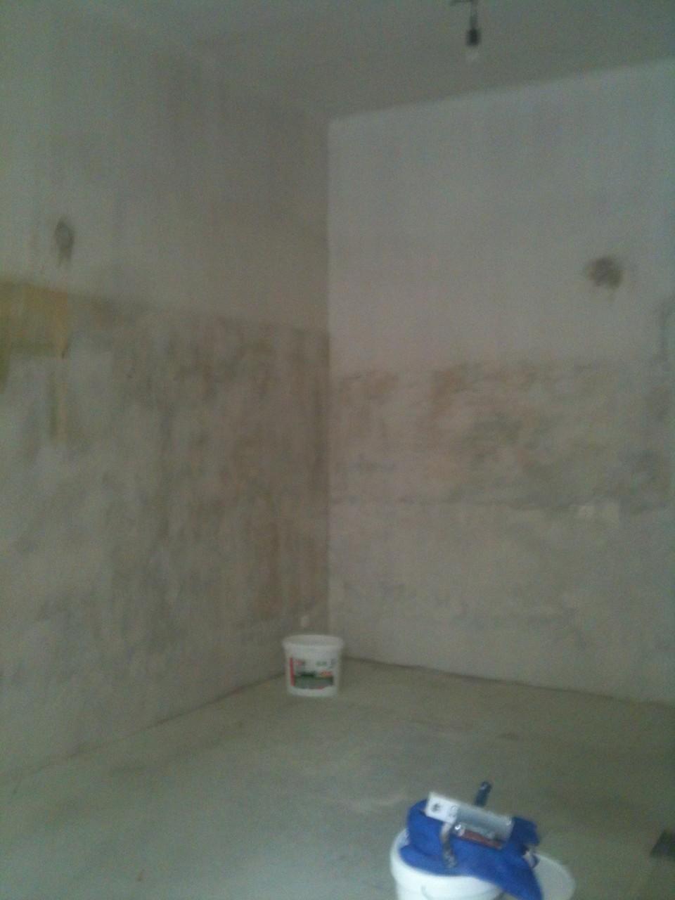 Altbeschichtung restlos entfernen, Wände und Decke spachteln, zweifärbig beschichten, PVC Linoleumboden herstellen