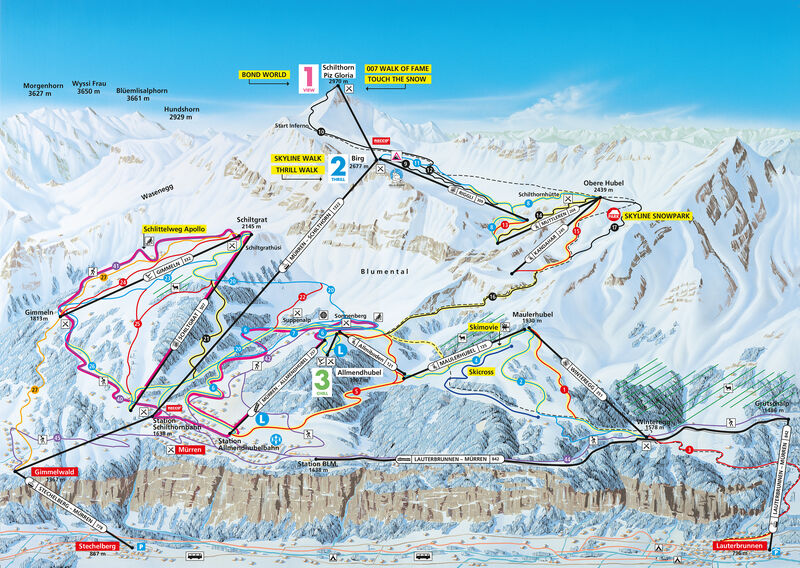 Slope map & Ski area Schilthorn