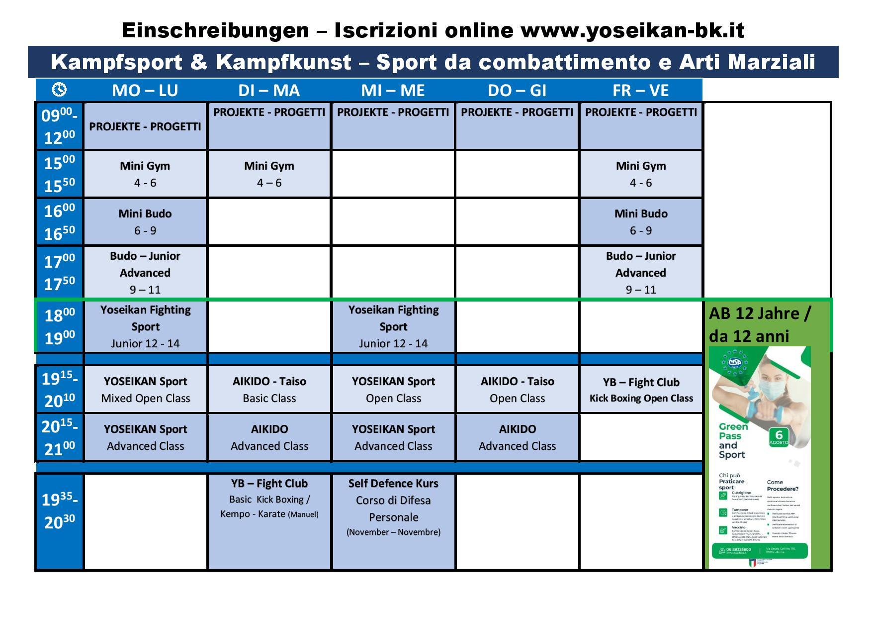 Kurszeiten Kampfkunst - sport / Orario corsi Arti Marziali / Sport da combattimento