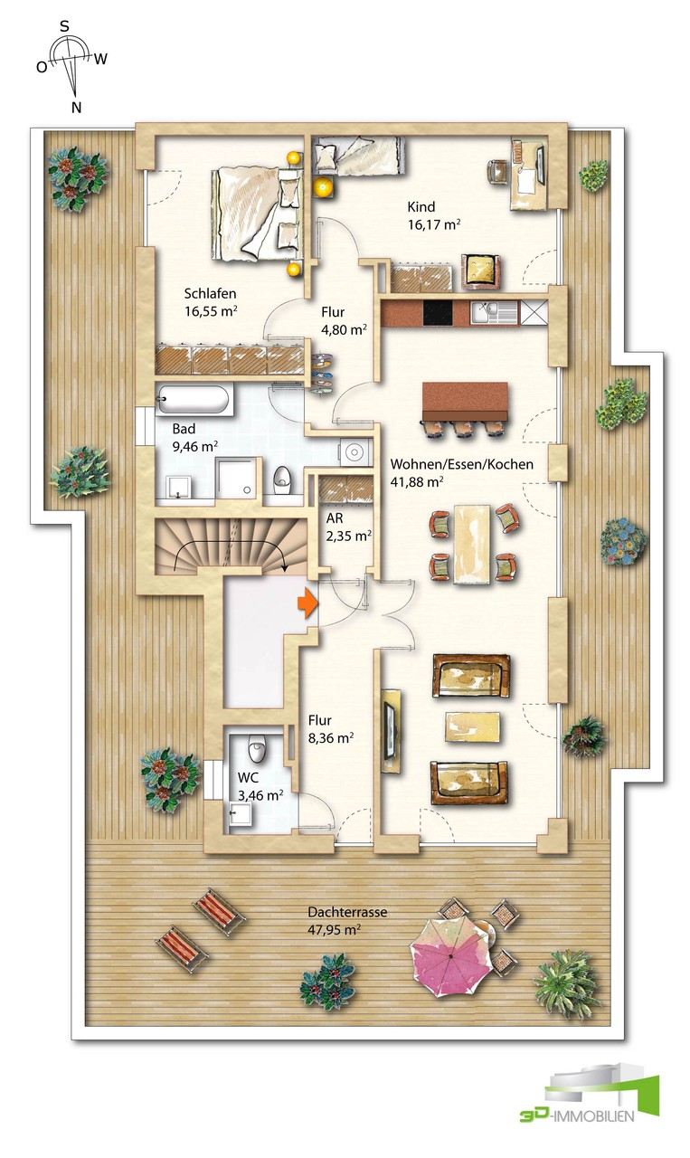exklusive neubau penthouse we in berlin charlottenburg 3d immobilien tv. Black Bedroom Furniture Sets. Home Design Ideas