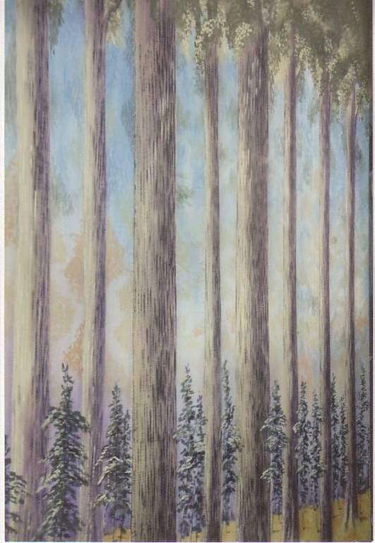 """Waldgassen gemalt auf Schleiernessel 7,40mx6m für die Oper """"Wiener Blut"""""""