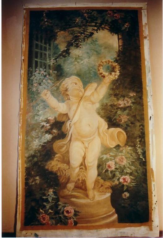 """Prospekt 2,50mx1,50m gemalt auf Leinwand """"Armor als Sieger"""" nach Fragonard"""