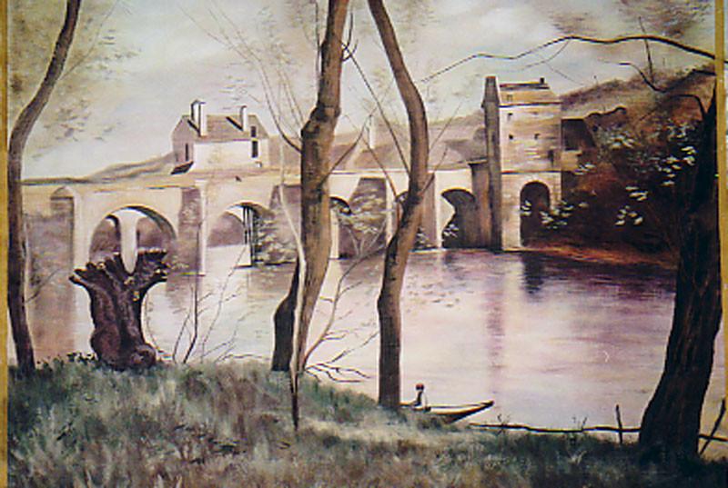 """Prospekt 4mx3m gemalt auf Leinwand """"Die Brücke von Mantes"""" nach Camill Corot"""