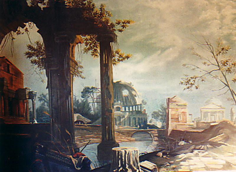 Prospekt 2,50mx2m gemalt auf Leinwand Ruinenlandschaft nach Canaletto