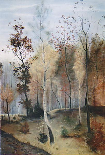"""Prospekt 4mx3m gemalt auf Leinwand """"Herbsttag"""" nach Karl Buchholz"""