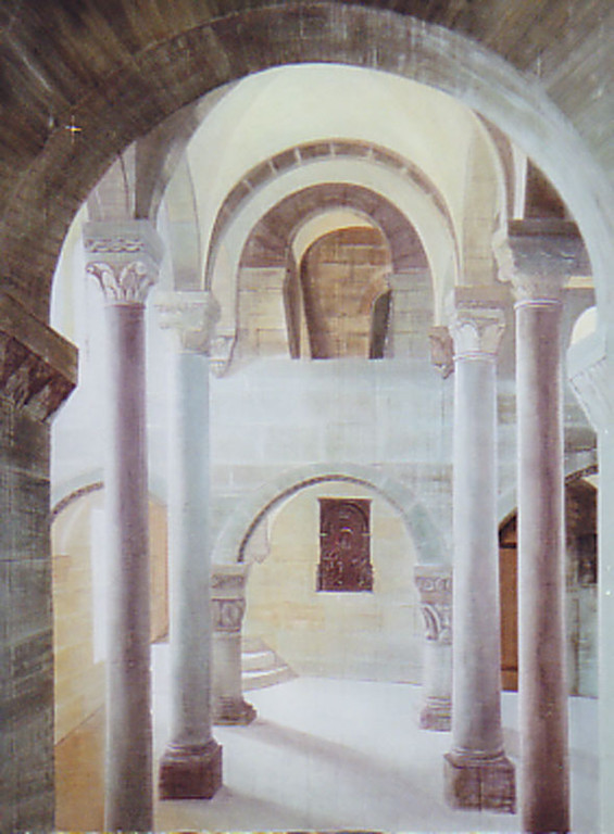 Prospekt 3mx2,50m gemalt auf Leinwand  Romanische Doppelkapelle