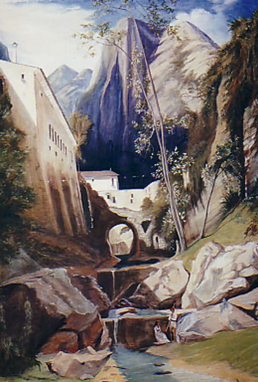 Prospekt 3mx2m gemalt auf Leinwand nach Karl Blechen