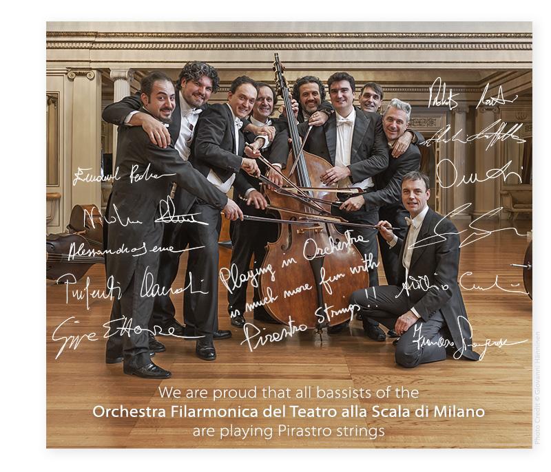 Контрабасисты театра Ла Скалла играют на струнах Пирастро Pirastro