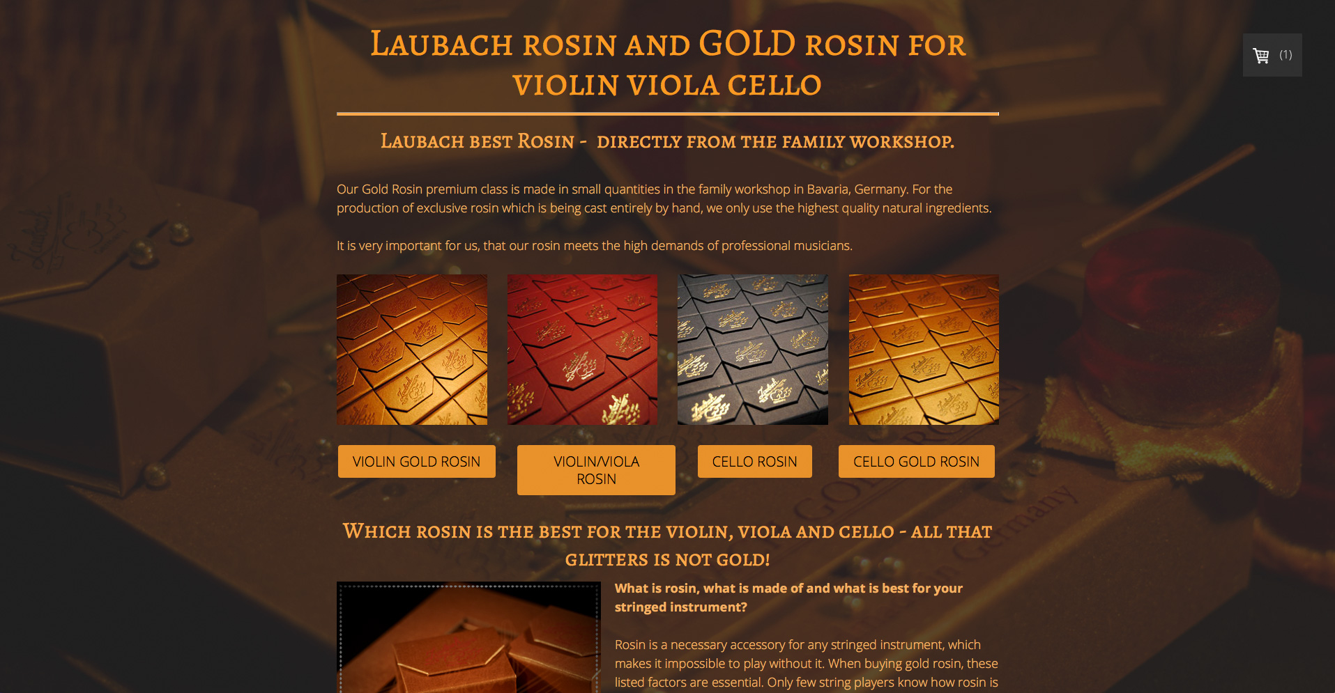 Laubach rosin and GOLD rosin for violin viola cello