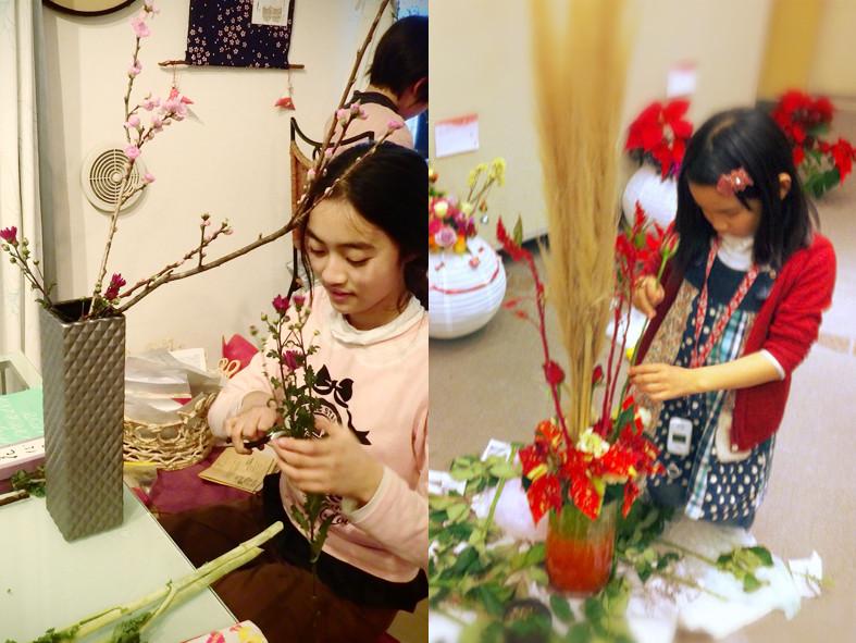 (左)桜を生ける(右)クリスマスの支度