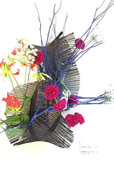 中学生 簾の黒・三又の青・花の赤