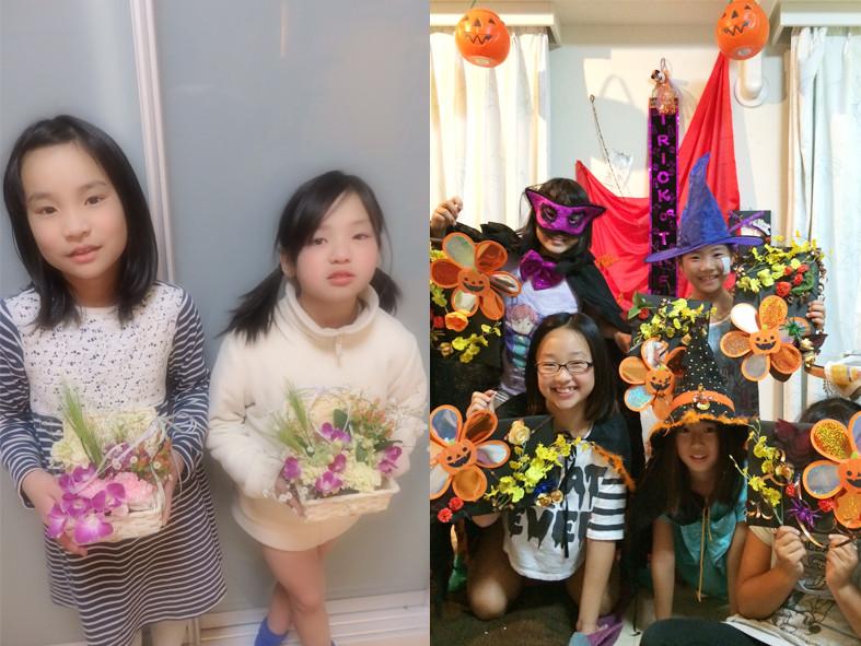 (左)いつも真剣にお花に向きあいます(右)ハロウィンアレンジはみんなで仮装(笑)