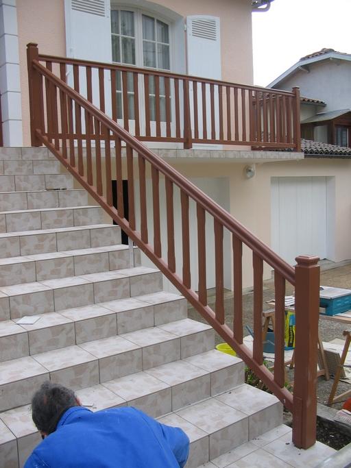 Garde corps d'escalier en sipo