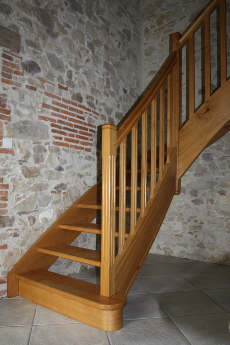 Escalier quart tournant en chêne
