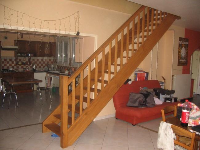 Escalier droit en chêne