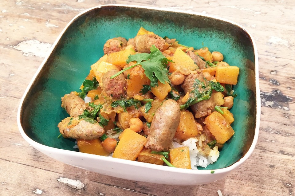 Pompoen curry met kikkererwten.