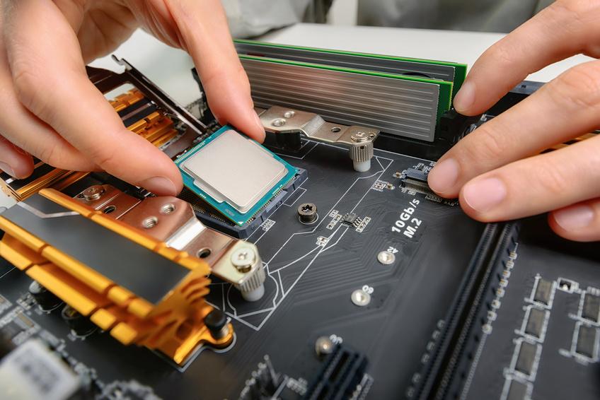 Einbau einer CPU auf einem Mainboard