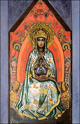 Königin des Himmels, Nicholas Roerich, 1931, Spätere Skizze um Wandbild in der Kirche des Heiligen Geistes in Talashkino