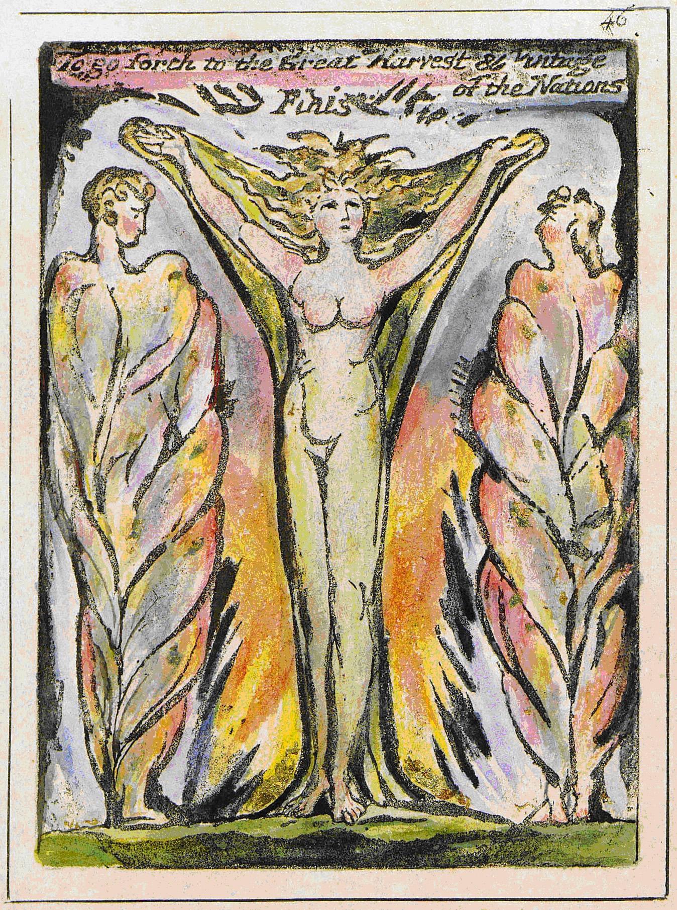 Blakes Darstellung von Jerusalem als Frau, Milton a Poem, ca. 1804–1811