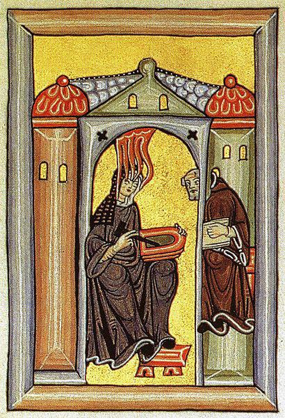 Hildegard beim Empfang und der Niederschrift ihrer Visionen, Miniatur aus dem Rupertsberger Codex (ca. 1175) des Liber Scivias Domini