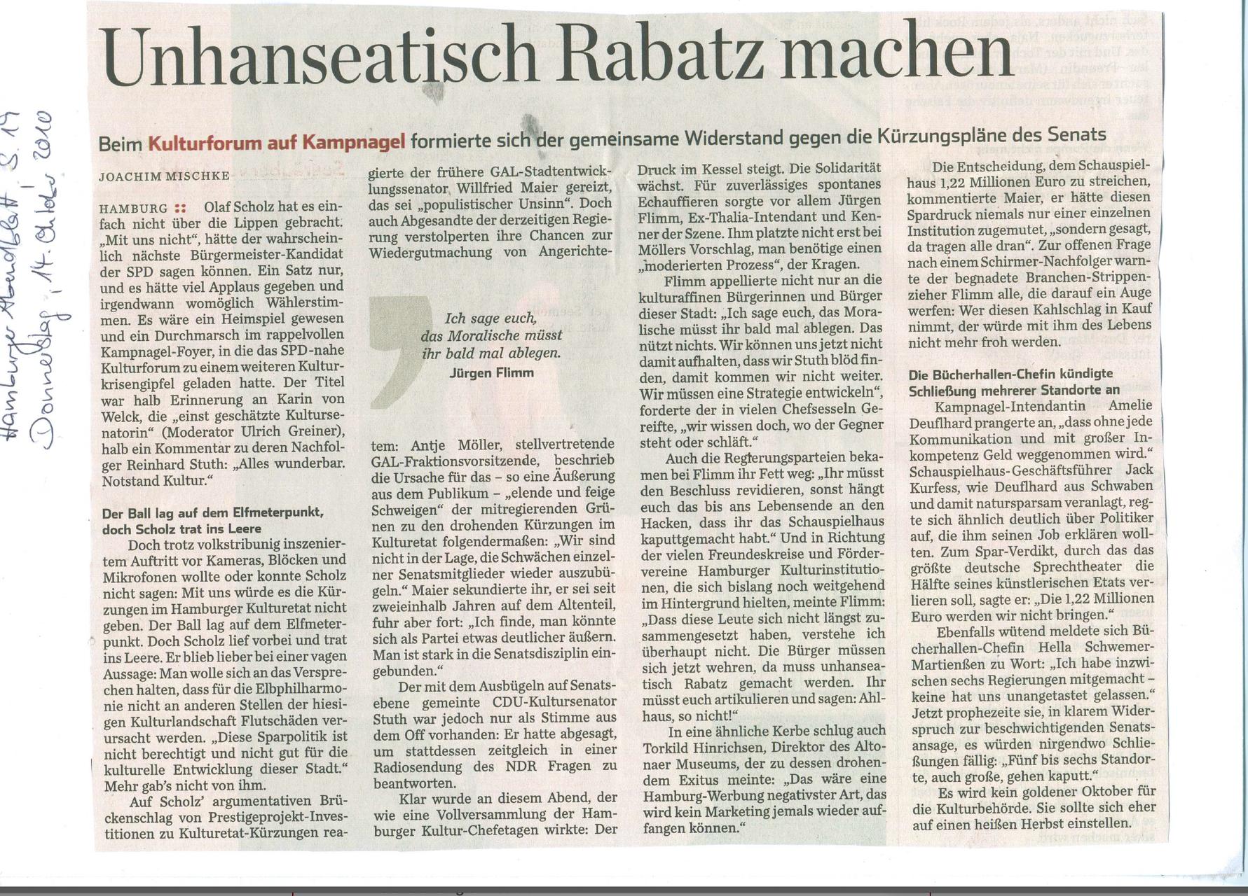 Hamburger Abendblatt, 14. Oktober 2010