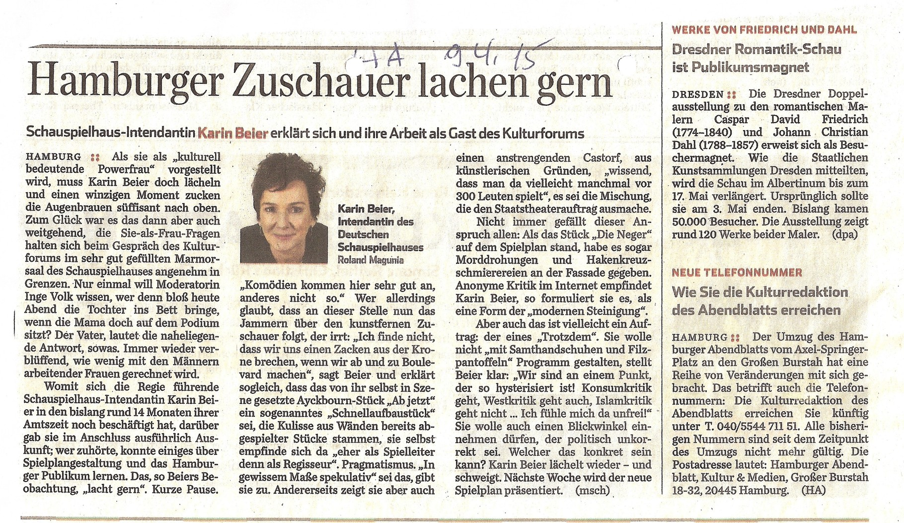 Hamburger Abendblatt, 9. April 2015