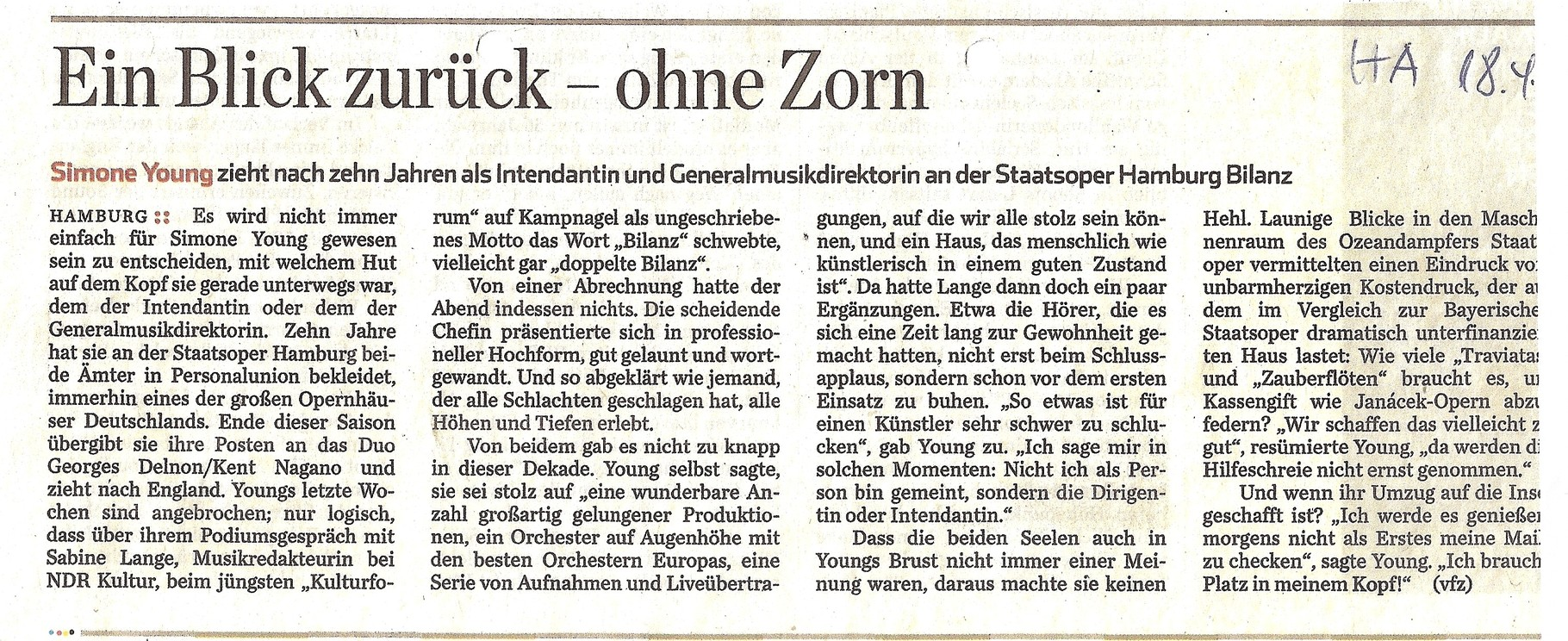 Hamburger Abendblatt, 18. April 2015