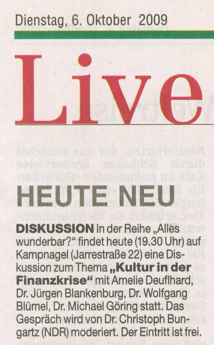 Hamburger Abendblatt, 6. November 2009