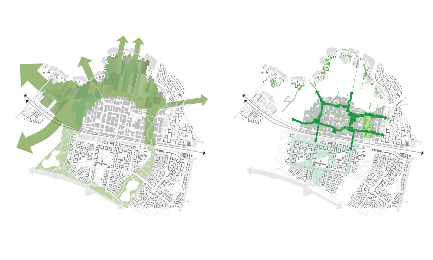 Left: The green landscape surrounding the district. Right: The green structure within the district connects with the rural surroundings.