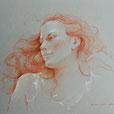 Cheveux roux1 40 x 30 - 3 crayons papier gris