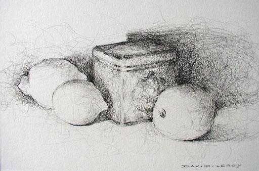 Boîte et citrons - 14 x 21 (54x44) pierre noire