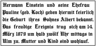Geburtsanzeige von Albert Einstein