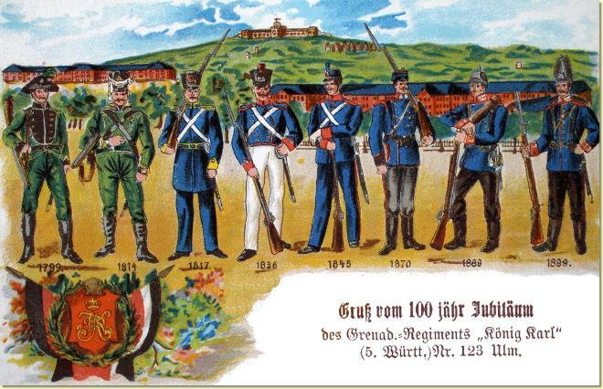 5. Württembergische Grenadier-Regiment König Karl. Postkarte von 1899