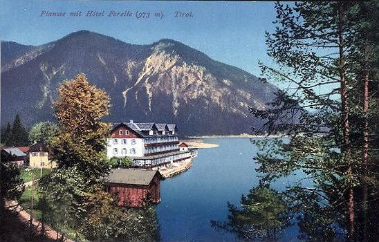 Postkarte von 1904. Hotel Forelle, Plansee