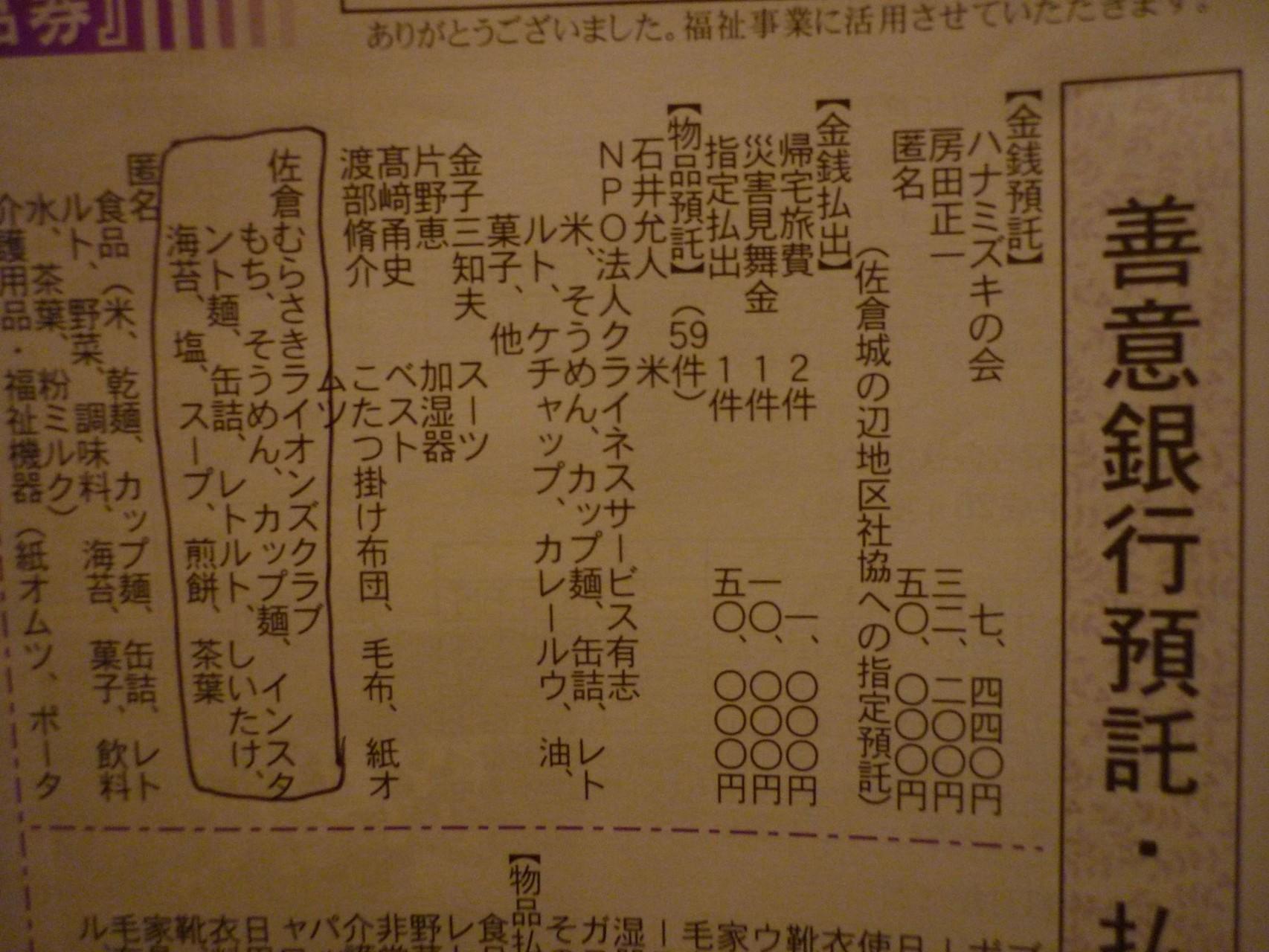 「フードバンク」支援が、佐倉市社会福祉協議会発行の「社協さくら」に掲載。