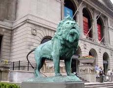 シカゴ美術館前のライオン像
