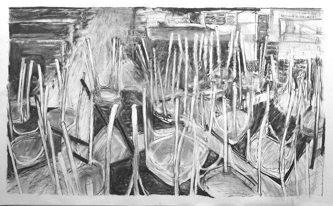 Lockdown (Corona) 3, Zeichnung Kohle auf Papier, 100x165cm, 2020