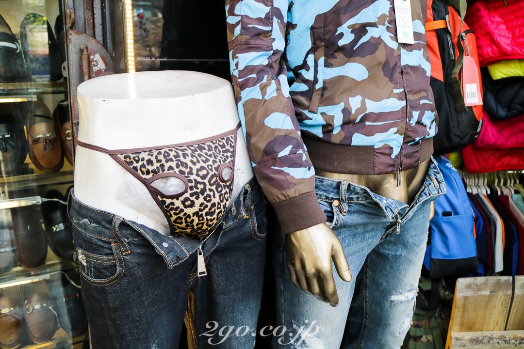 ハノイの街角で売られていた刺激的なブリーフ。右のマネキンはそれすら穿いてない、ダイレクト派だ。
