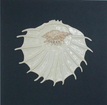"Porzellan-Relief-Bild ""Spinnen-Muschel"""