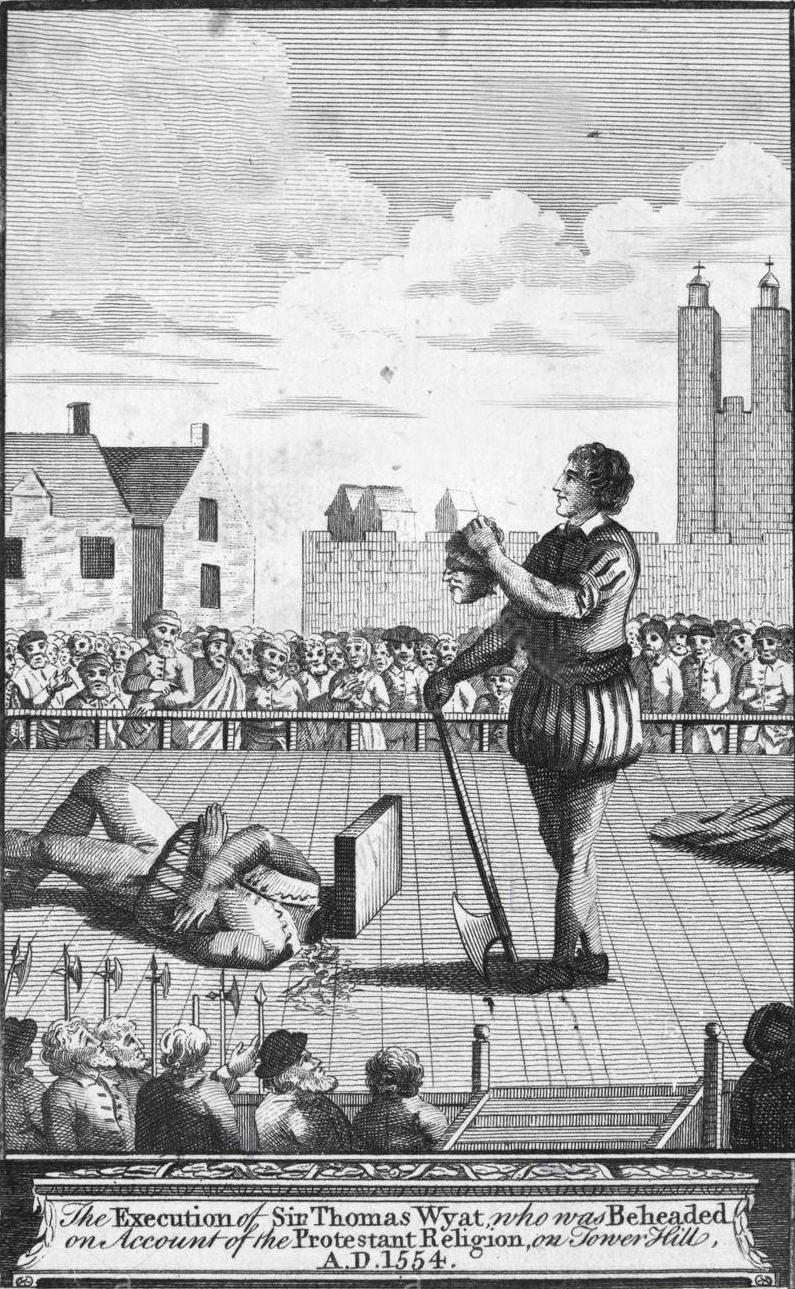 Zur Veranschaulichung. Stich von einer Hinrichtung eines Adeligen im Jahre 1554. Generell war der Tod durch Enthauptung dem Adel vorbehalten. Niedrigere Stände mussten den qualvollen Tod durch den Strang erleiden.