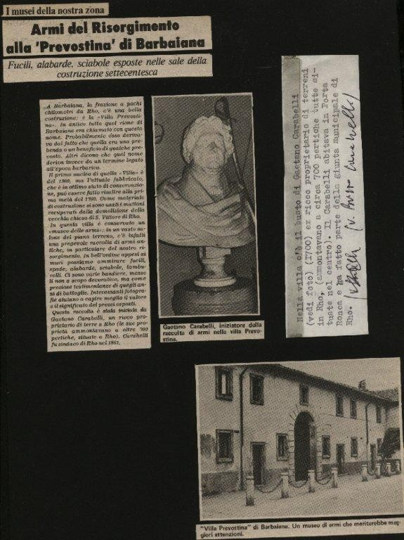 Prevostina, Largo Galluzzi - Via Roma, Articoli per Mostra vecchie Armi (1980)
