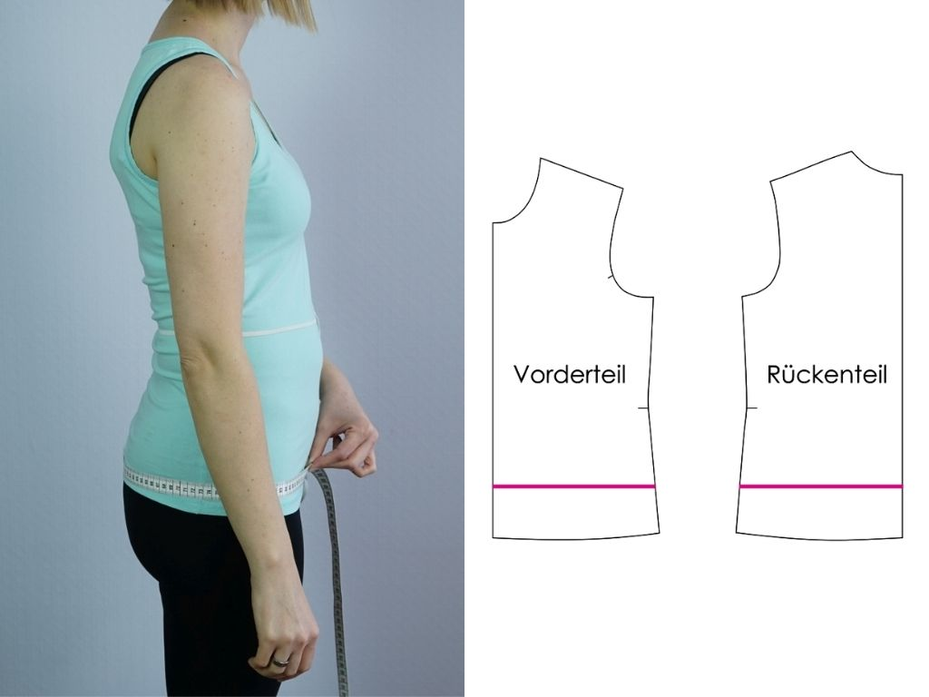 Brust, Taille und Hüfte am Schnitt nachmessen
