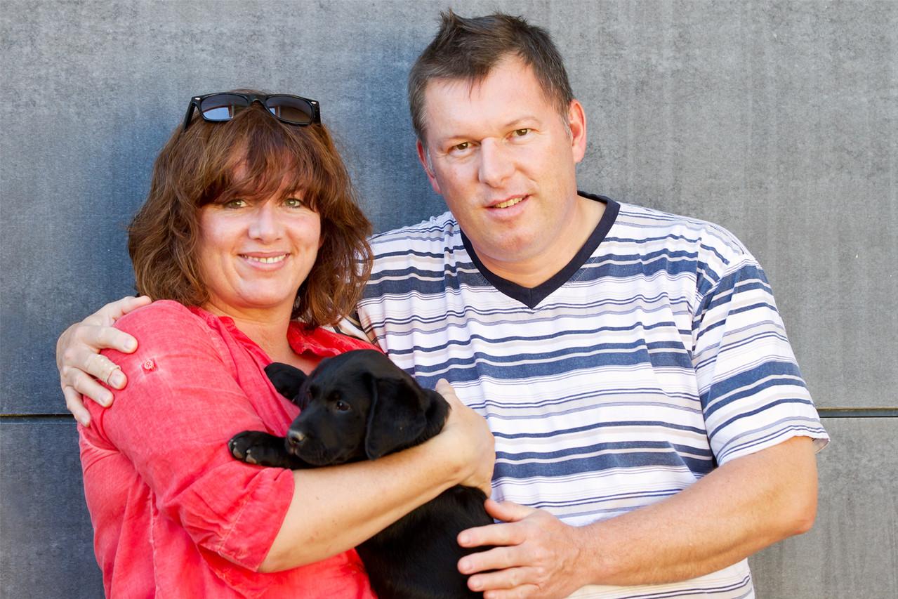 Andrea mit Knut und Clover (8 Wochen)