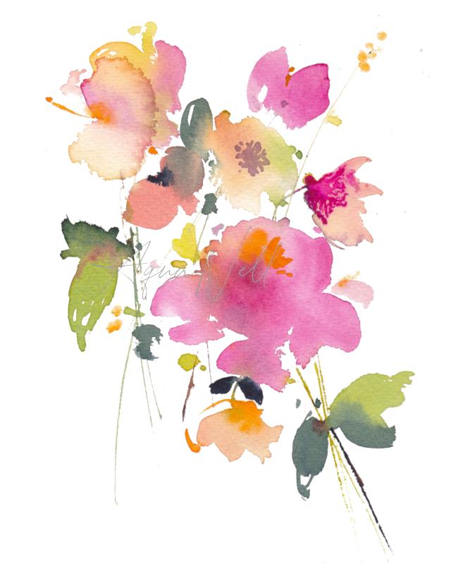 Peinture Aquarelle Fleur Aquanell